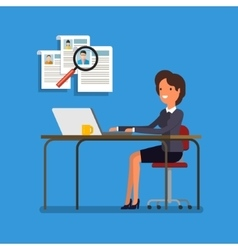 Business woman choosing person for hiring vector