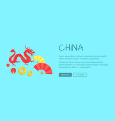 Red dragon chinese symbol and fans web banner vector