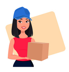 Young cartoon girl from courier delivery services vector