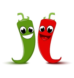 Happy cartoon red and green chili pepper vector