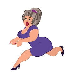 Cartoon fat woman with gray hair running vector