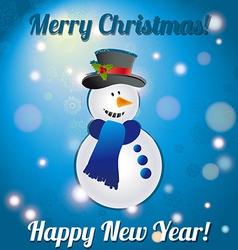 Christmas snowman a greeting card congratulations vector
