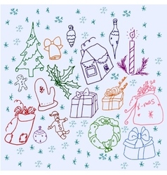 Set of symbols christmas and winter vector