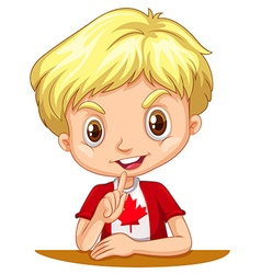 Canadian boy sitting down vector