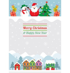 Christmas characters and winter houses vector