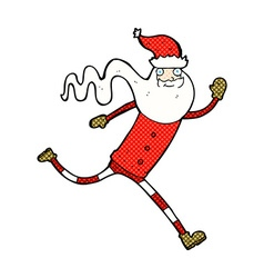 Comic cartoon running santa vector