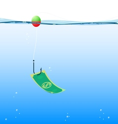 Background fishing money vector