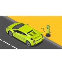 Electric sport coupe car charging vector