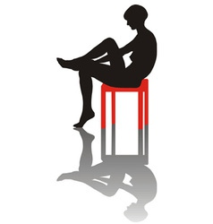 Sitting lonely girl vector