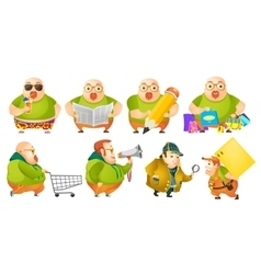 Set of cheerful fat man vector