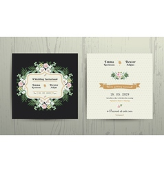 Botanical leaves flowers invitation card vector