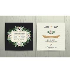 Botanical leaves flowers invitation card vector