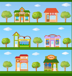 building icon set store and cafe building front vector image vector image