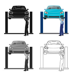 Car on the lift single icon in cartoonoutline vector