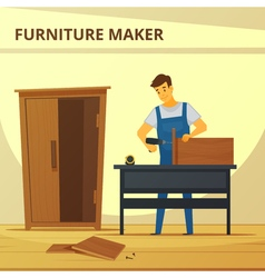 Carpenter assembling furniture flat poster vector