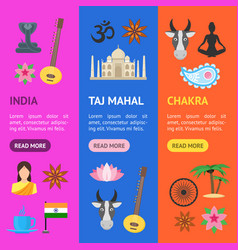 cartoon india banner vecrtical set vector image vector image