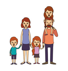 Color image caricature big family parents with vector