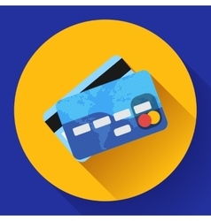 Credit Card icon with long shadow Flat vector image vector image