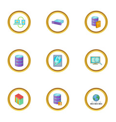 data mining icons set cartoon style vector image