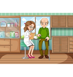 Doctor examining old man in clinic vector image vector image