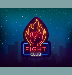 fight neon sign light night billboard isolated vector image