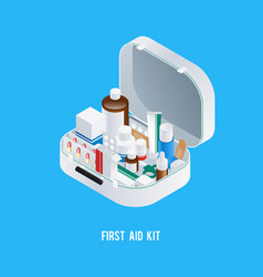 First aid kit background vector