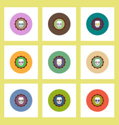 Flat icons halloween set of coaster with skull vector
