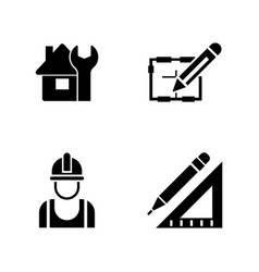 Foreman equipment simple related icons vector