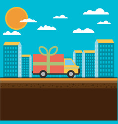 free delivery concept in flat style - for banner vector image vector image