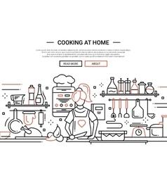 Girl cooking at home - line design website banner vector