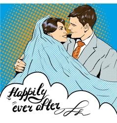 Groom kissing bride in pop vector