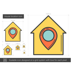 House location line icon vector