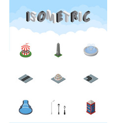 Isometric architecture set of dc memorial turning vector
