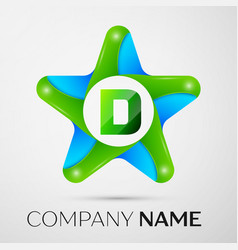 letter d logo symbol in the colorful star on grey vector image vector image