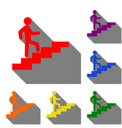 Man on stairs going up set of red orange yellow vector