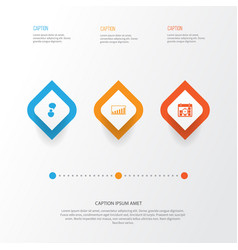 Management icons set collection of company vector