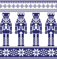 Nutrckrackers seamless Christmas winter pattern vector image