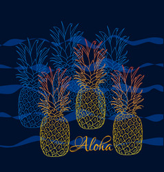 pineapple poster hand drawn vector image vector image