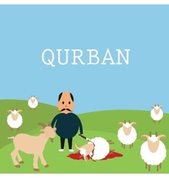 Qurban sacrifice kill goat lamb in islam idul adha vector