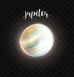 Realistic glowing jupiter planet isolated glow vector