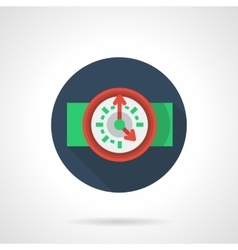 Red wall clock blue round flat icon vector image