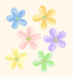 set flower icons vector image vector image