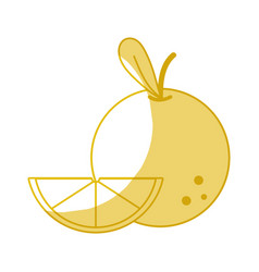 Silhouette delicious slice orange fruit with vector