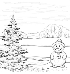 snowman and christmas tree contours vector image