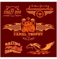 Sports racing emblem - set vector image
