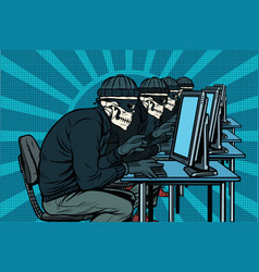 the hacker community skeletons hacked computers vector image vector image