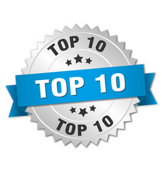 Top 10 3d silver badge with blue ribbon vector
