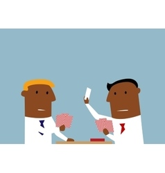 Two businessmen playing cards in office vector