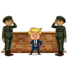 Us president trump and two soldiers vector