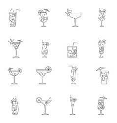 Cocktail icon set outline vector